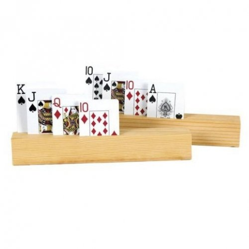 4 slot wooden playing card holder