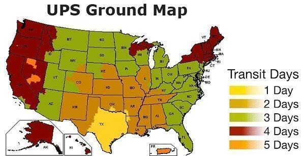 UPS Shipping Map