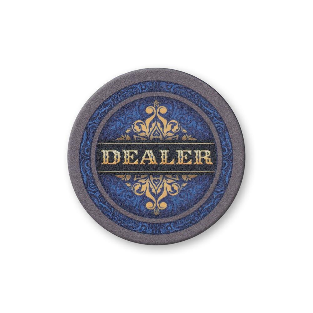 Blue Ornate Dealer Button