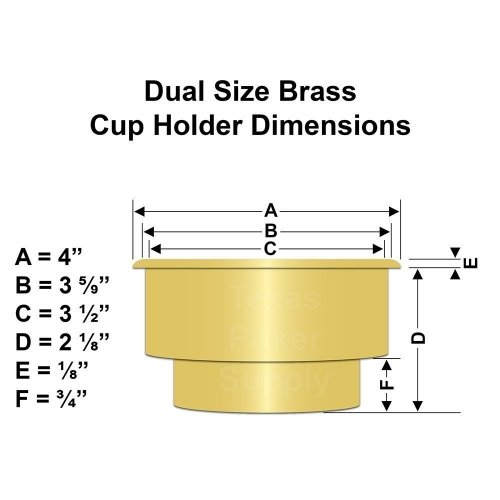 Dual Size Brass Cup Holder Dimensions
